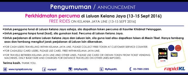 Kelana Jaya Line LRT Free Rides Promotion