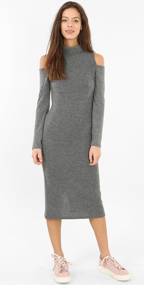 Robe pull col roulé grise manches longues épaules dénudées Pimkie