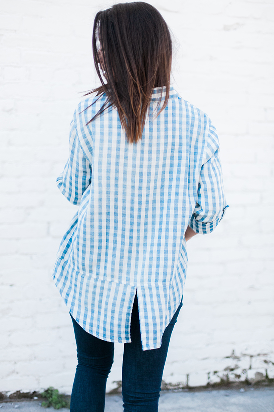 Here&Now: oversized gingham tunic, split back top