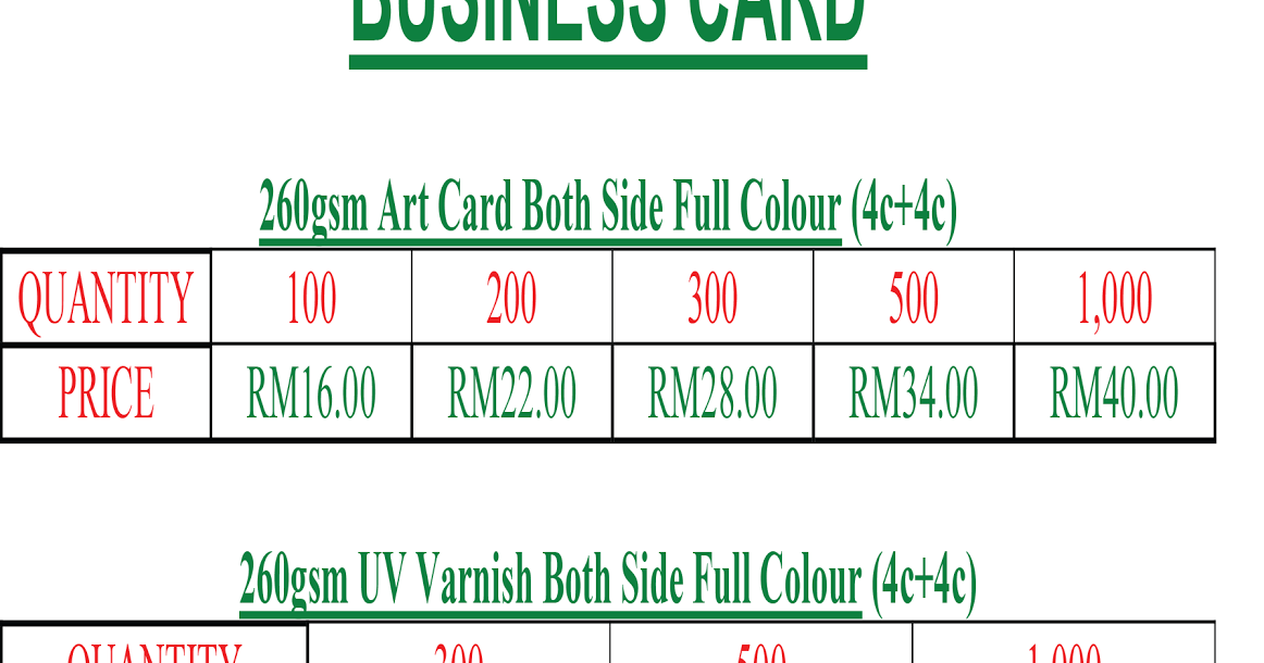 Malaysia Printing Murah Print Price Business Card Name