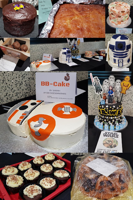 BlogOn Bake Off Cake competition table full of entries star wars decorated buns sponge bundt