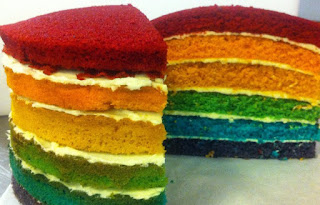 Rainbow Cake - Fair Shares Café Cambridge