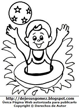 Niño jugando con su pelota de playa puesto su salvavidas para colorear, pintar e imprimir. Dibujo de un niño de Jesus Gómez