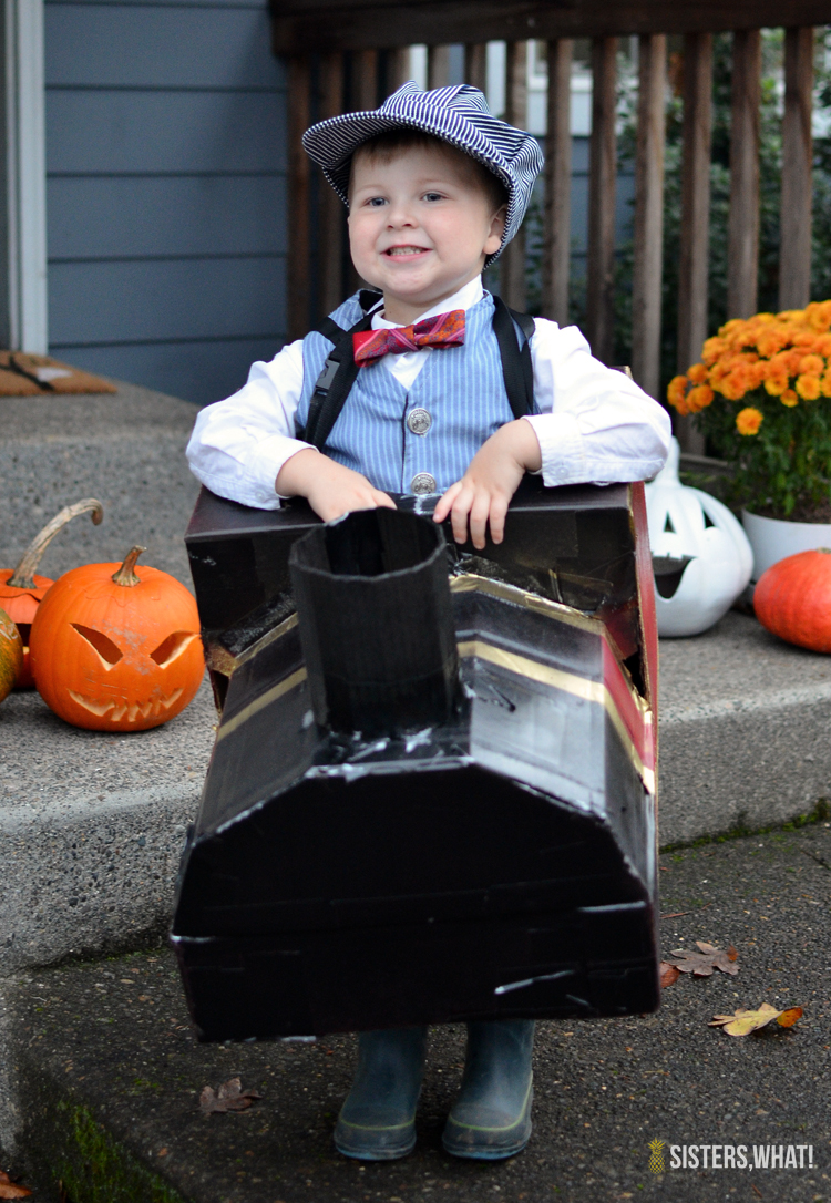 DIY Train Conductor Hogwarts express Halloween Costume out of cardboard boxes