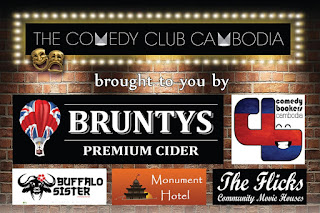 BAckdrop fpr Comedy Club Cambodia at Equinox in Phnom Penh, Cambodia