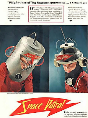 August 1953 issue of Woman's Day contained instructions for making your own Space Patrol Helmet