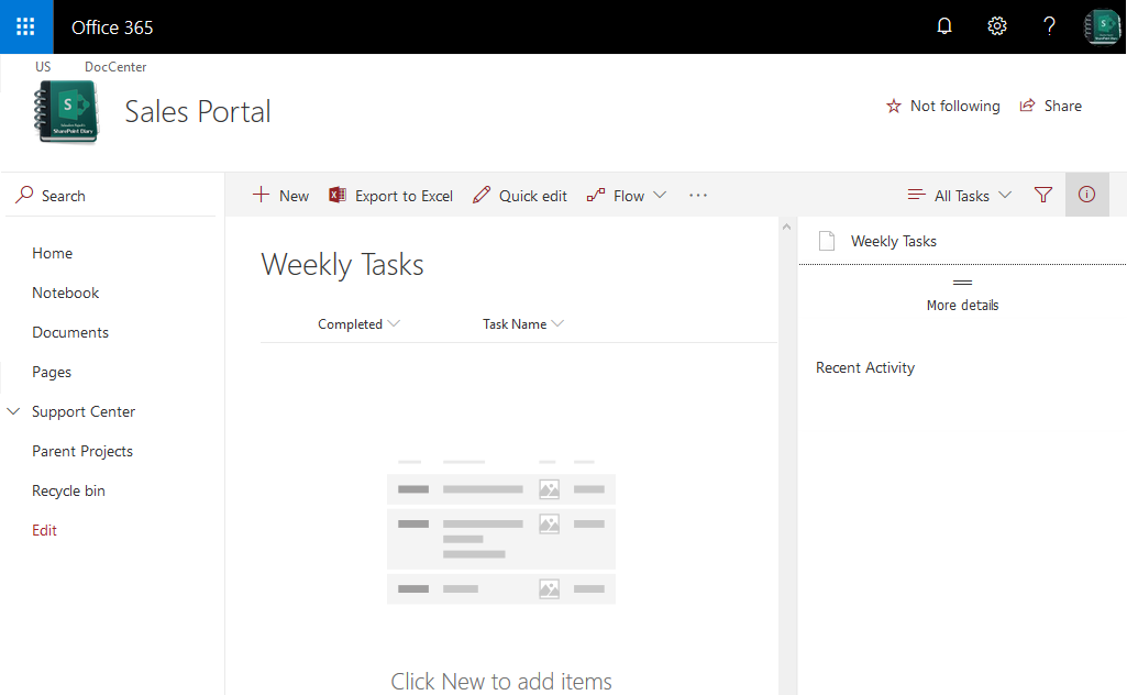 sharepoint online task list new experience