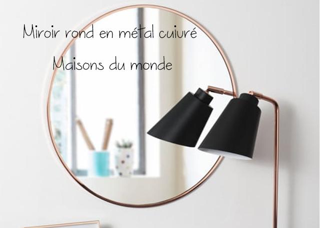 Miroir rond en métal cuivré - Maisons du monde
