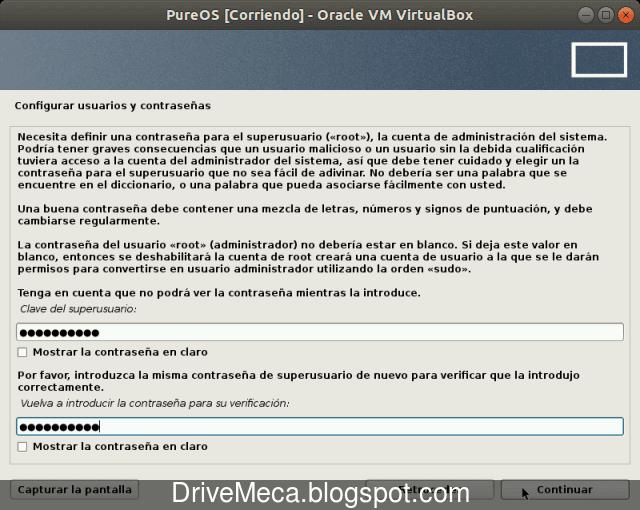 Escribimos una contraseña para nuestra cuenta root en Linux PureOS
