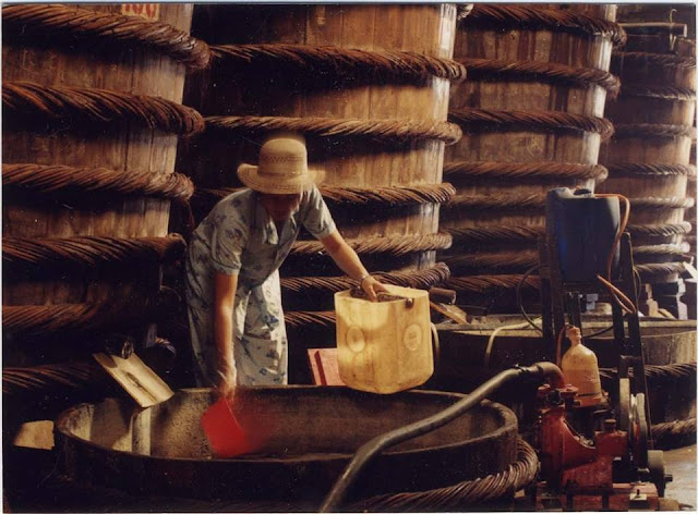 Một công đoạn làm nước mắm truyền thống từ cá cơm, muối