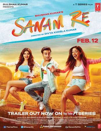 Poster Of Sanam Re 2016 Hindi 350MB HDRip 720p HEVC Watch Online Free Download Worldfree4u