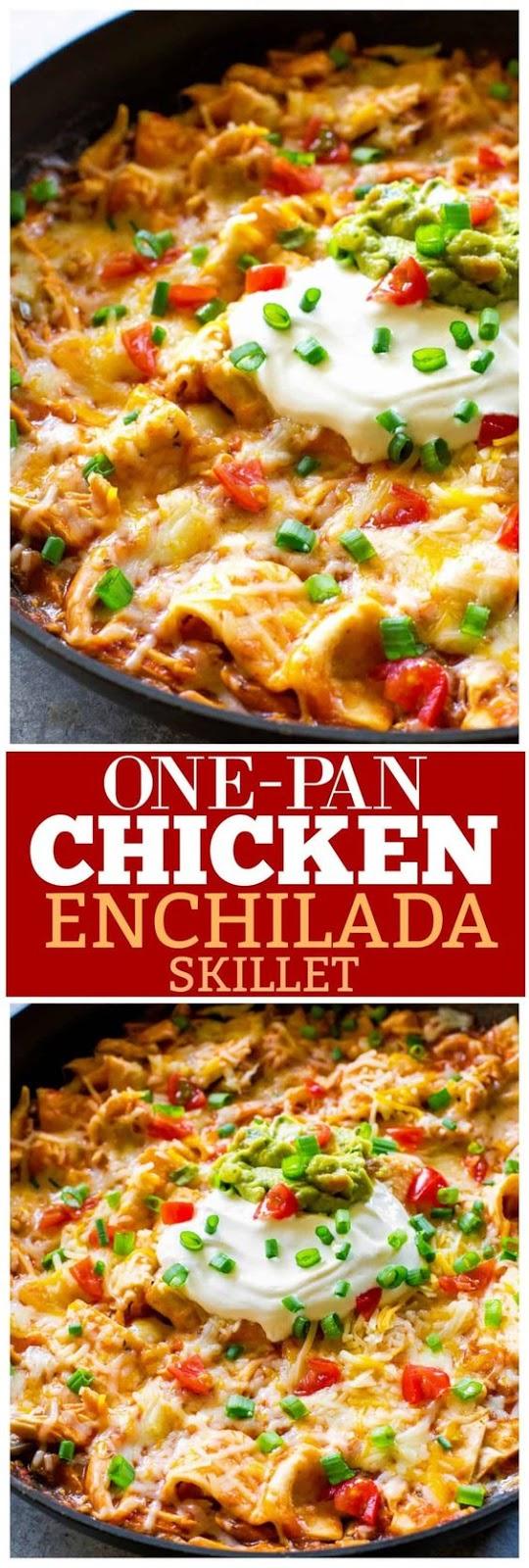 One Pan Chicken Enchilada Skillet