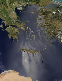 Sunglint στο Αιγαίο Πέλαγος και στην Μεσόγειο.
