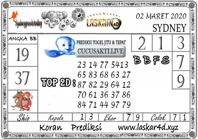 Prediksi Togel SYDNEY LASKAR4D 02 MARET 2020