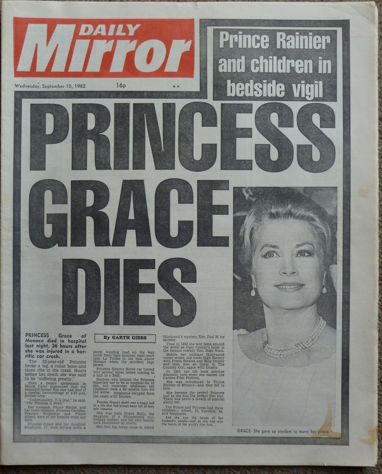 Hold The Front Page: Princess Grace (Kelly) Dies