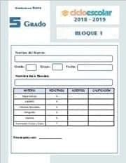 Examen del Bloque I Quinto grado 2018-2019