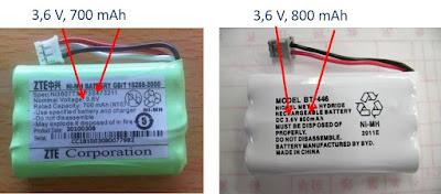 """"""" Batería, pila recargable 3,6 V y 600 mAh para telefono de casa, fijo"""""""