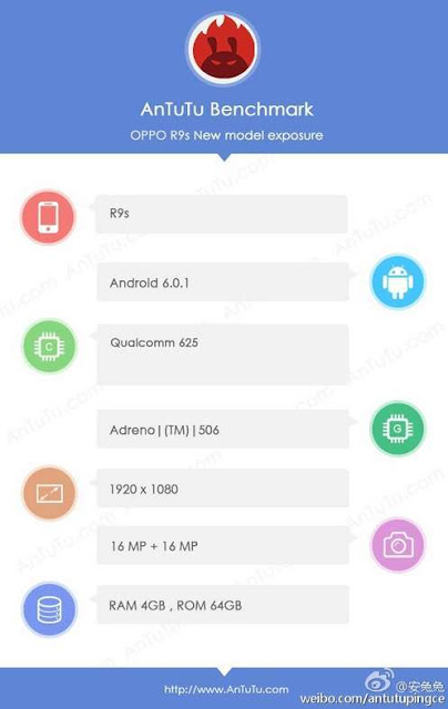 Oppo R9s muncul di AnTuTu, dibekali sensor kamera 16 MP Sony IMX398 depan dan belakang