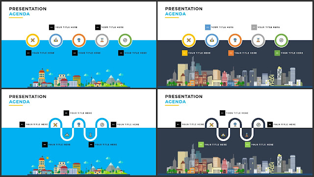 Table of Contents for Free PowerPoint Template using Flat Design and City Scape