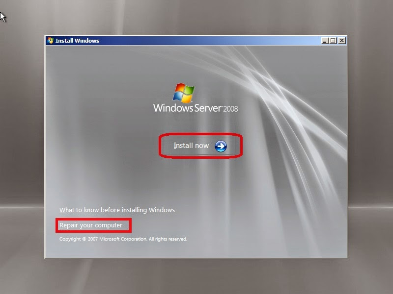 Cài đặt Windows Server 2008 - Nhấn Install
