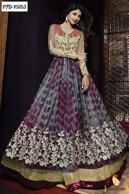 Bollywood actress shilpa shetty latest Indian designer wedding party wear heavy net anarkali churidar salwar suit 2016 online