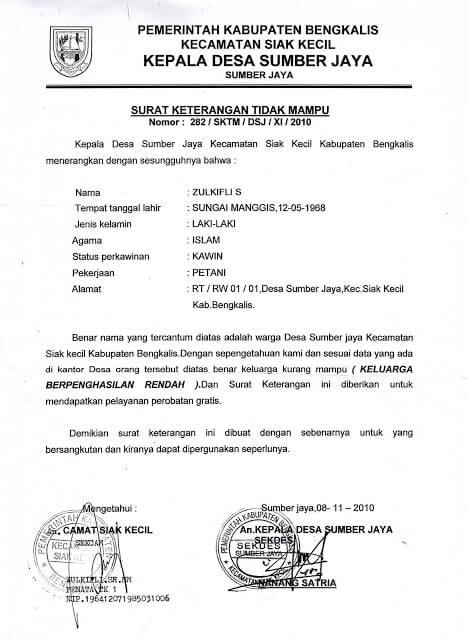 Contoh Surat Keterangan Tidak Mampu Dari Ketua Rt Ketua Rw Desa