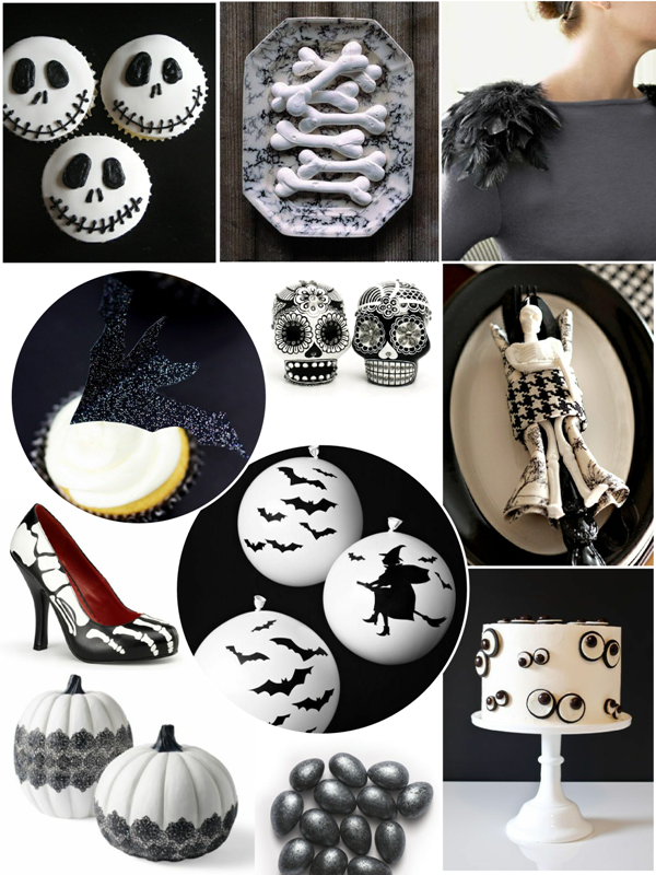 Black and White Halloween Party Ideas - via BirdsParty.com