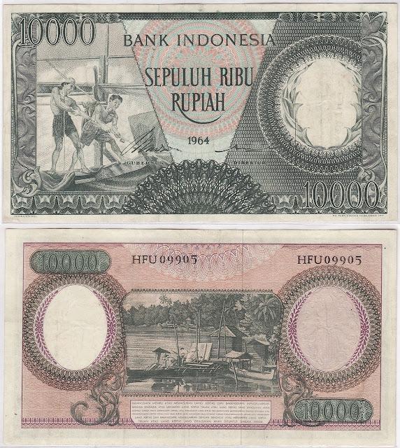 10000 RUPIAH HIJAU SERI PEKERJA TAHUN 1964