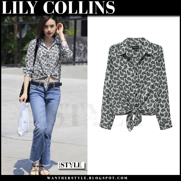 Lily Collins in grey feather print tie from t-shirt and jeans what she wore