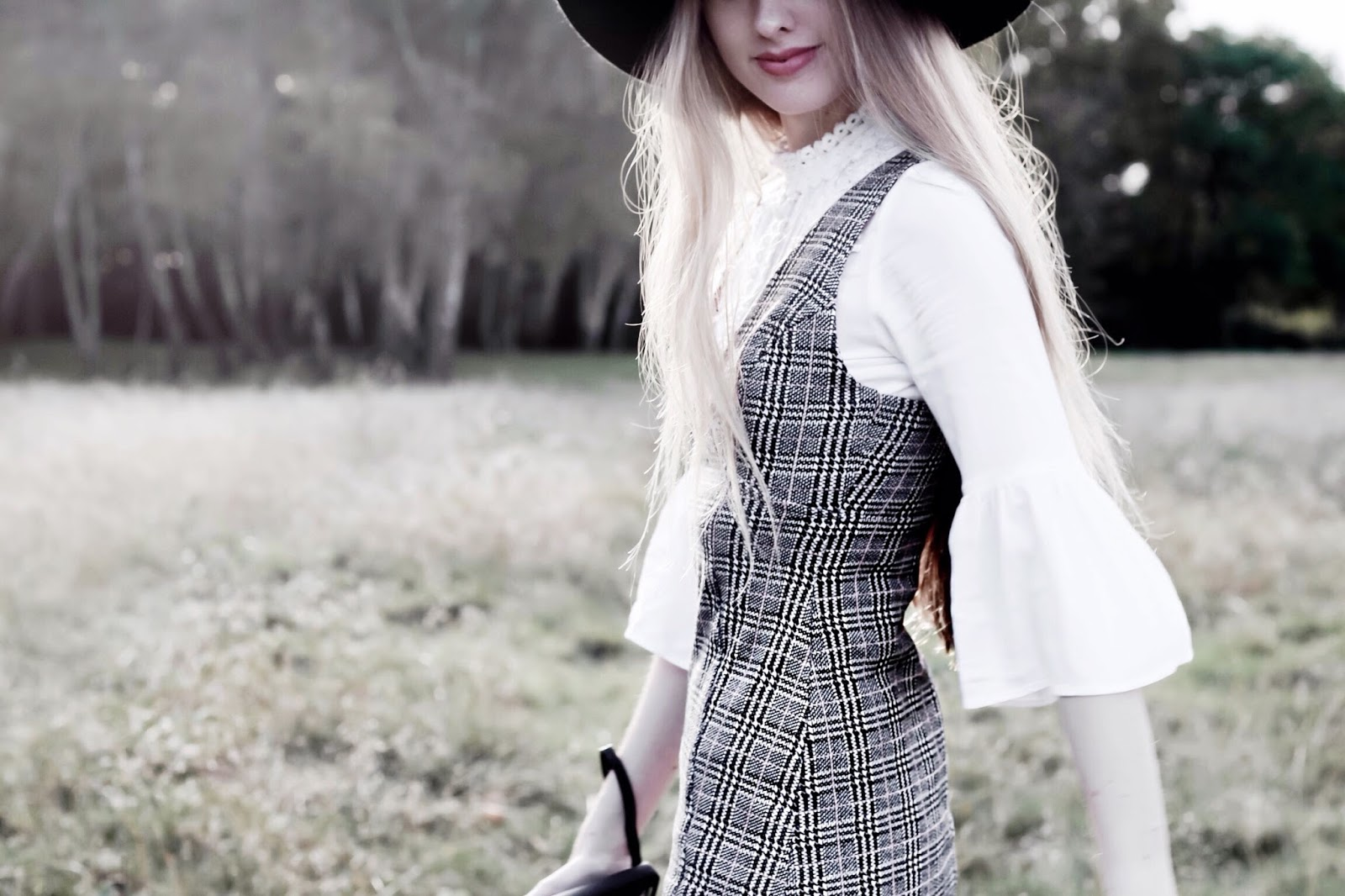90s Style Check Pinafore Dress Fashion Blog