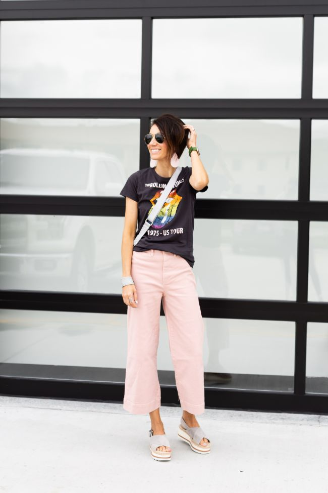 Madewell Pink Cropped Wide Legs Pants