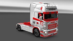 Scania RJL V8 Orange skin mod made by LazyMods