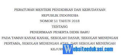Permendikbud Nomor 51 Tahun 2018 tentang Juknis PPDB
