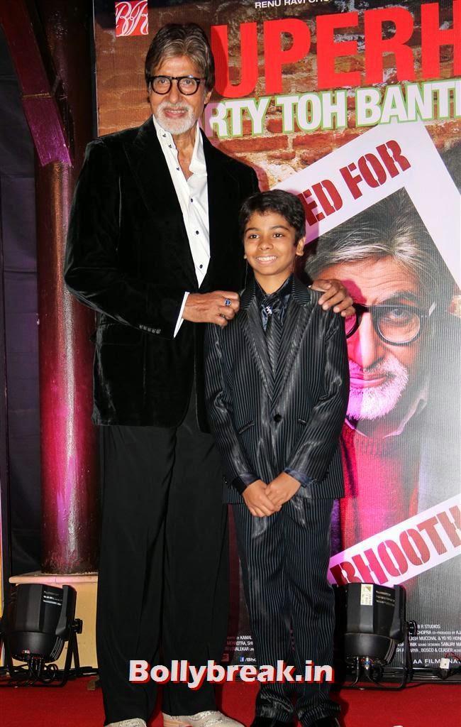 Amitabh Bachchan and Parth Bhalerao, Usha Jadhav at Bhoothnath Returns Success Party