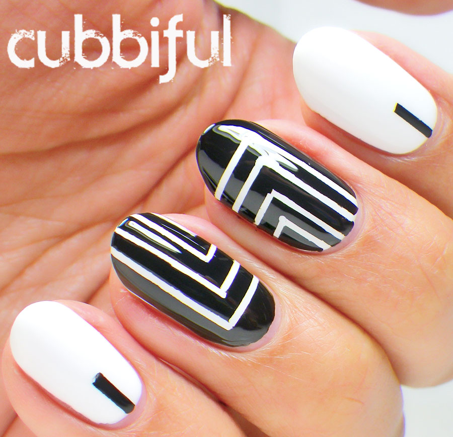 Black & White Abstract Tape Mani
