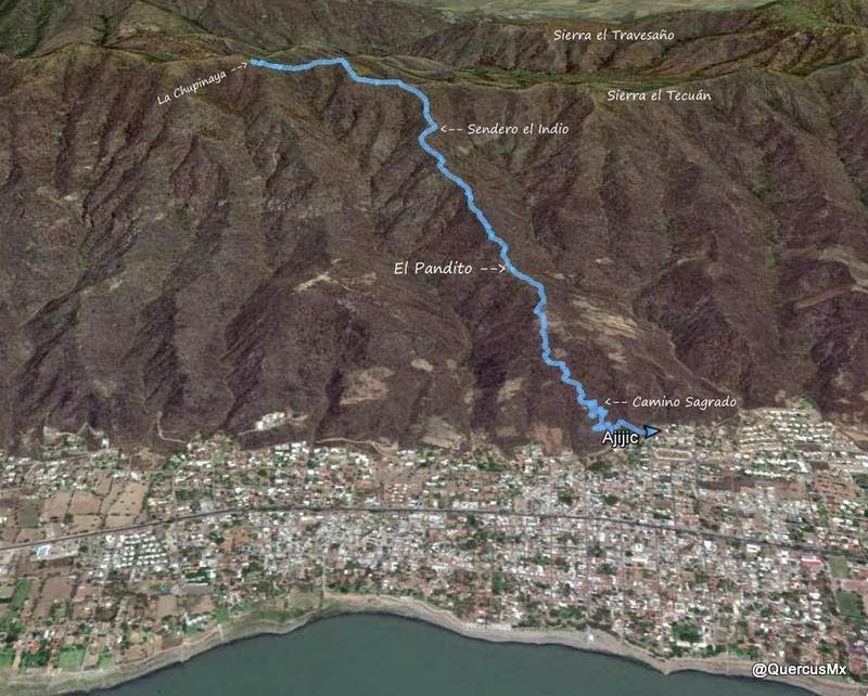 Ruta de descenso La Chupinaya - Sendero el Indio - El Pandito - Camino Sagrado - Ajijic