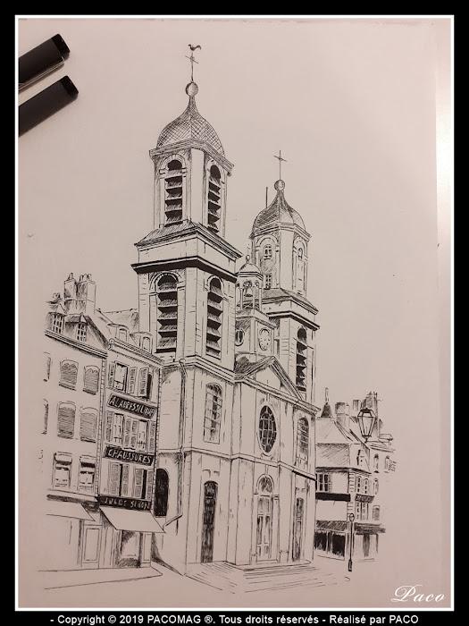 dessin au trait de l'Église Saint-Charles de Sedan