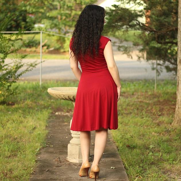 Burgundy Short Sleeve Dress