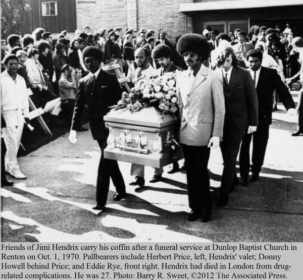 Friends of Jimi Hendrix carry his coffin after a funeral service at Dunlop Baptist Church in Renton on Oct. 1, 1970
