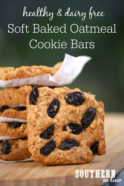 Healthy Soft Baked Oatmeal Cookie Bars Recipe - low fat, gluten free, dairy free, clean eating friendly, healthy cookie recipes, homemade granola bars