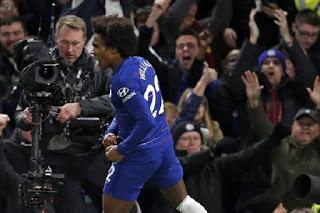 Willian begitu emosional merayakan golnya pada laga Chelsea melawan Newcastle United dalam lanjutan Liga Primer Inggris di Stadion Stamford Bridge, 12 Januari 2019. - Foto: AFP