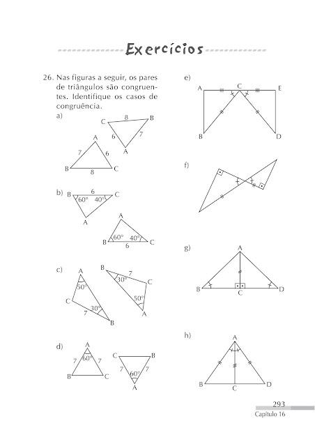 Congruencia de triangulos exercicios