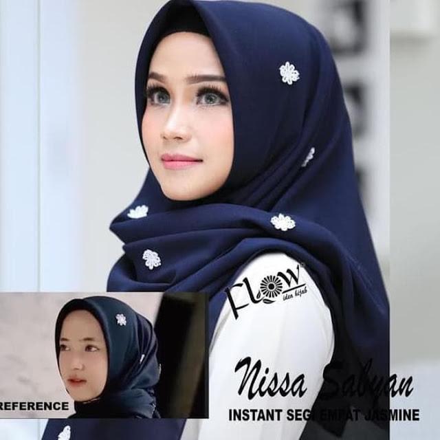 Jilbab Terbaru Segiempat Nissa Sabyan Jasmine Instan By Flow Warna Biru Dongker
