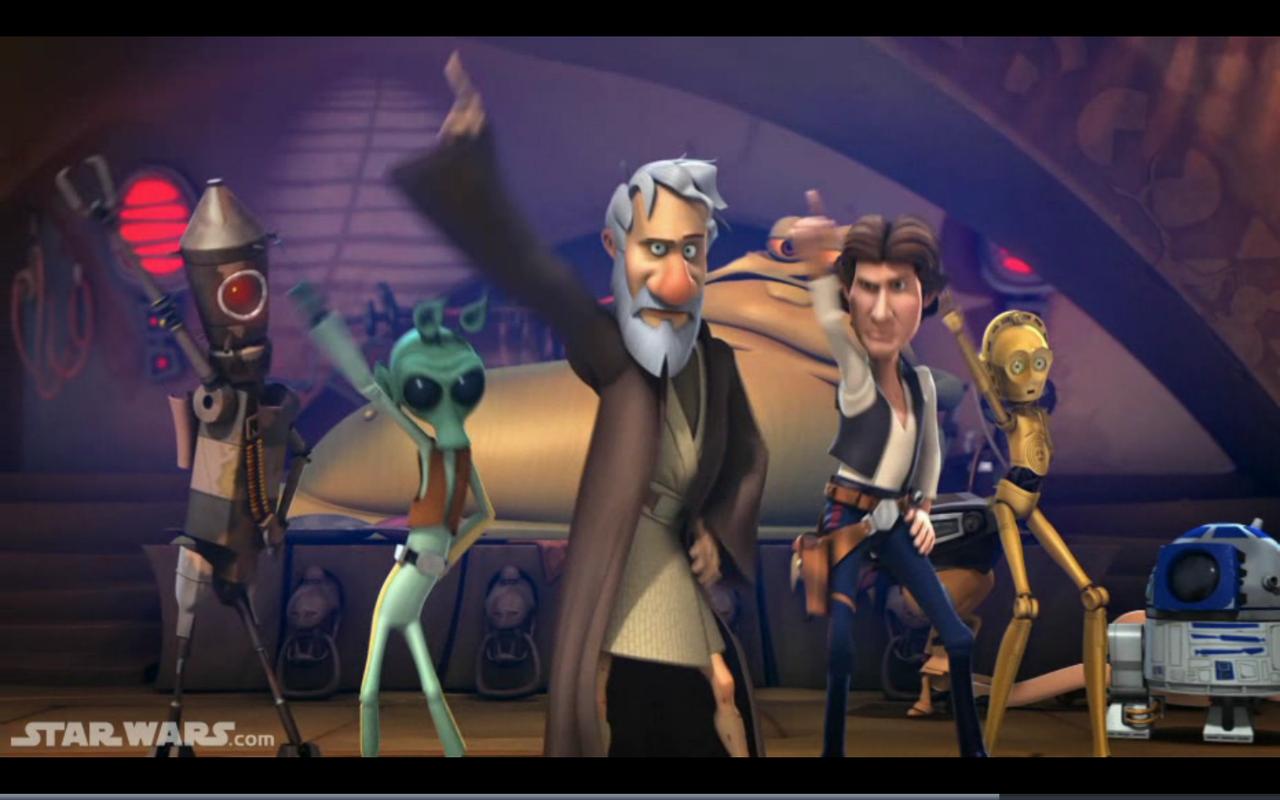 Obi-Wan Kenobi and others disco-dancing in Star Wars Detours.