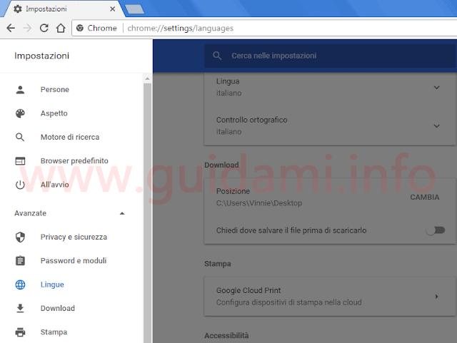 Chrome 59 grafica material design delle impostazioni
