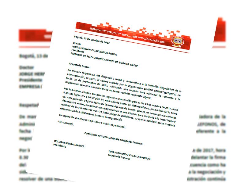 Comunicación de negociación a Jorge Castellanos