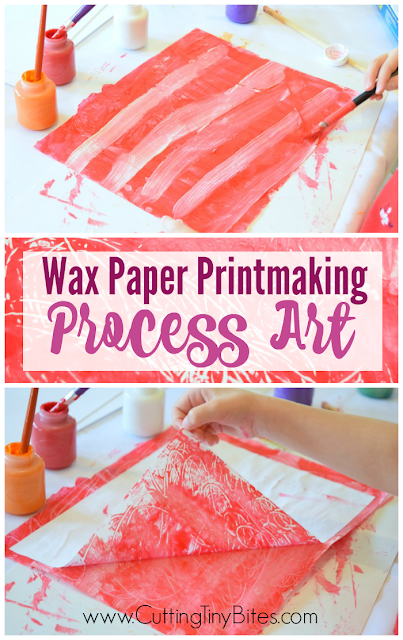 Wax Paper Printmaking- Painting Process Art For Kids. Explore a simple form of printmaking using materials you have on hand. Fun and easy painting activity for preschoolers, kindergartners, or elementary kids.
