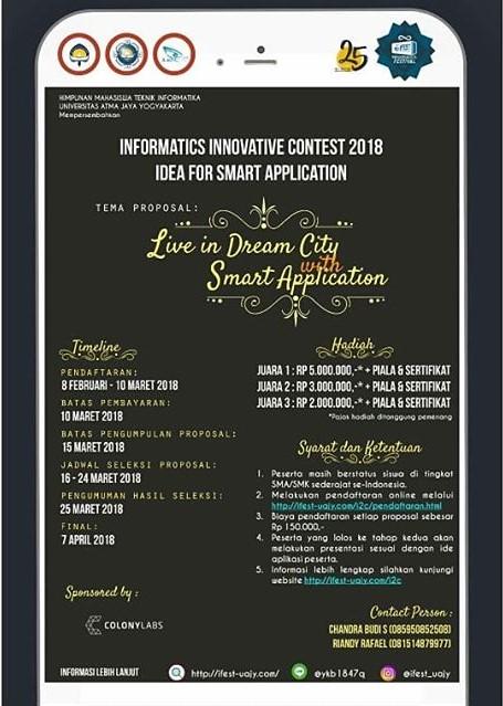 Lomba Ide Pemrograman App Informatics Innovative Contest (I2C) 2018 Univ. Atma Jaya Yogyakarta