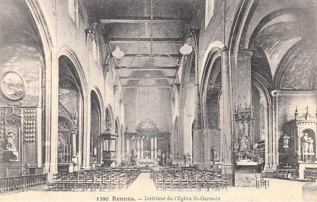La nef de l'Église Saint-Germain vers 1900