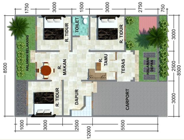 Desain Rumah Minimalis Tipe 54m Dengan 3 Kamar Tidur Terbaru Masa Kini